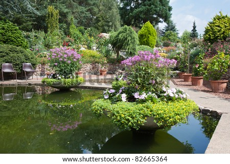 Ornamental garden with beautiful pond