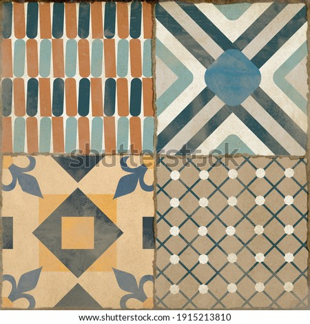 Ornamental geometric design with colored cement textures.Hydraulic ceramic. Photo stock ©