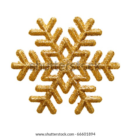 Ornamental golden snowflake glittering on pure white background