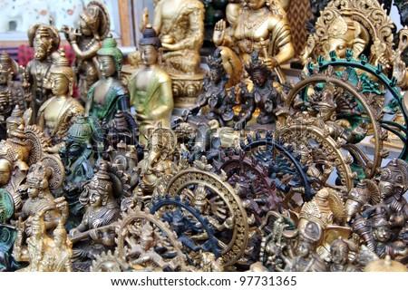 Ornamental Hindu Gods at market in Delhi, India