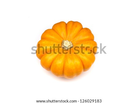 Ornamental miniature pumpkin, Gold Dust, in white background