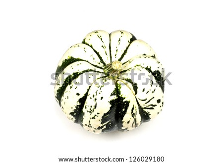 Ornamental miniature pumpkin, Heart of Gold, in white background