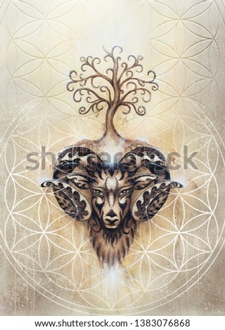 ornamental painting of Aries, sacred animal symbol, tree of life and flower of life.