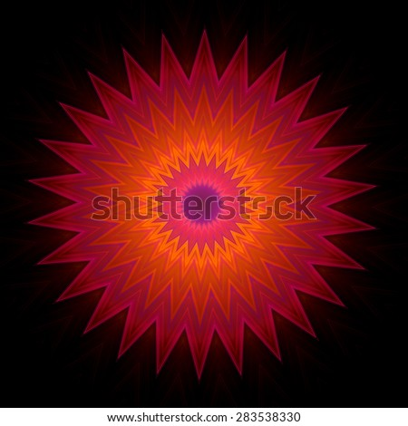 Ornamental pattern in star shape on black background. Shapes inscribed into each other. Image shows orange color which fades into purple at the edges. Contains a lot of details even at full zoom.