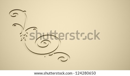 Ornamental relief concept on golden color
