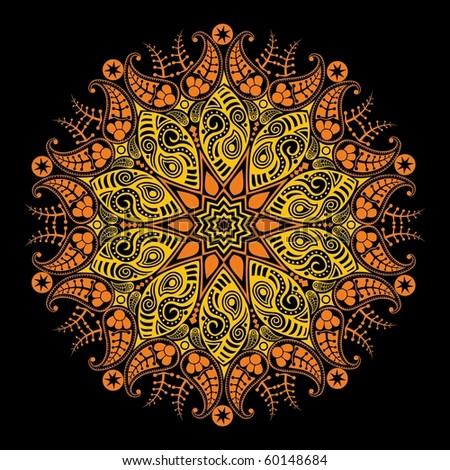 ornamental round lace, stylized sun