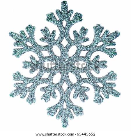 Ornamental snowflake glittering on pure white background