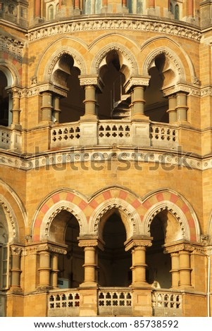 ornamental staircase in sunset light  - detail of facade of  Victoria Railway station in Mumbai, UNESCO World Heritage Site, India