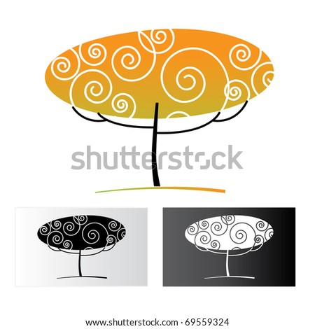 ornamental tree on a white background and black and white versions