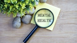 Ornamental trees, stones Small, magnifying glass, sticky note with text mental health