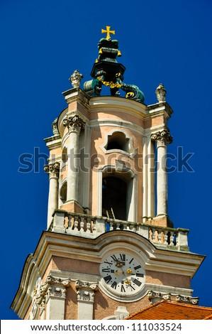 ornamented church tower of baroque herzogenburg monastery