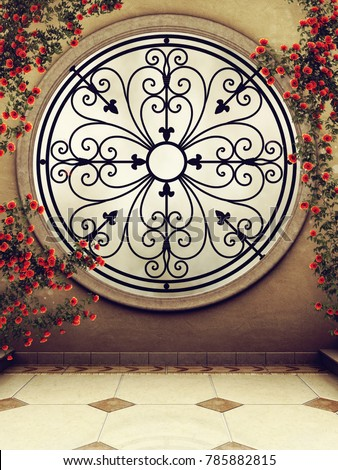 Ornamented fantasy window with red rose vines. 3D illustration.