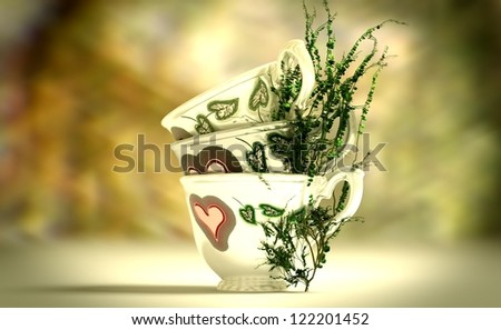 Ornamented teapots with growing tea leaves.Blurred background.Global illumination.