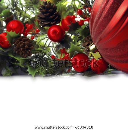 Ornaments, mistletoe and balls to print greeting cards for Christmas Foto stock ©