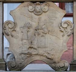 Ornaments, moldings, gargoyle, low reliefs in a sandstone, granite, concrete. sculpting details in Gdansk (Danzig).