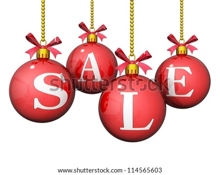 Ornaments with Sale written on them.