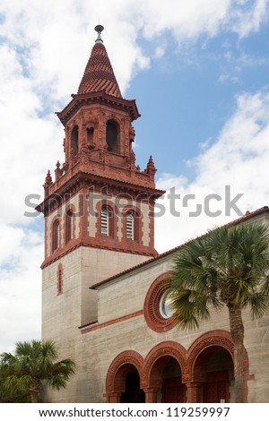 Ornate brick tower of Grace United Methodist Church built Henry Flagler in St Augustine Florida