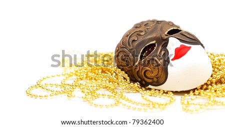 Ornate carnival mask from Venice with bead