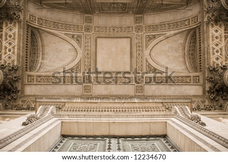 Ornate ceiling of the Pantheon in Paris