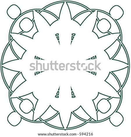 Ornate Circle with Scroll Designs - 0023