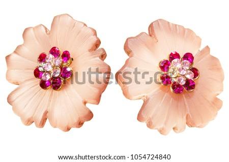 ornate costume jewelry flower gem stone earrings #1054724840