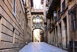 Ornate covered bridge in the Gothic Quarter of old Barcelona, Spain