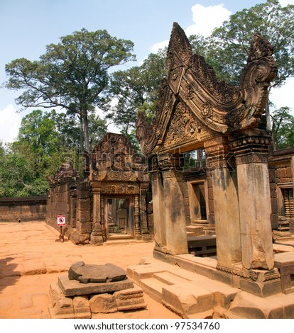 Ornate doorway and building at Banteay Srey temple