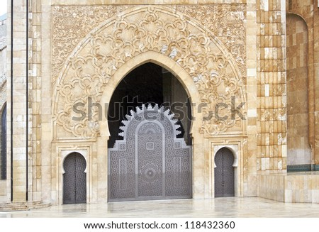 Ornate exterior brass door of Hassan II Mosque in Casablanca, Morocco