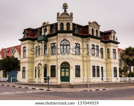 Ornate German style architecture of corner building in the Namibian town of Swakopmund
