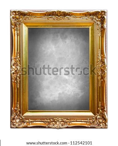 Ornate gold frame isolated on white background.