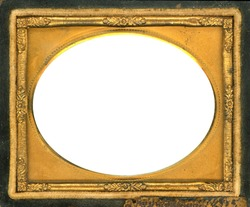 Ornate gold metal picture frame from the 1850s. This style frame was commonly used with Daguerreotypes, Ambrotypes and Tintypes.  In use 1840's-1860s (Victorian Era). Image contains Clipping Path