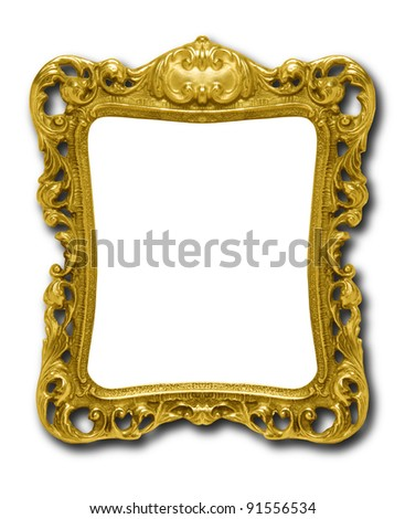 Ornate gold picture frame silhouetted against white background with drop shadow