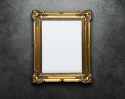 Ornate golden frame at the concrete wall with clipping path for the inside