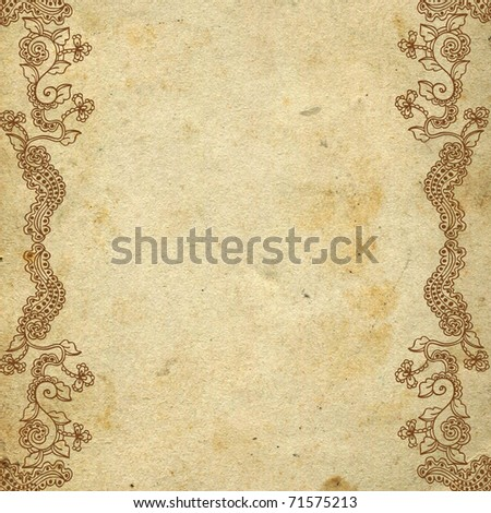 Ornate grunge paper frame (beige vintage greetings)