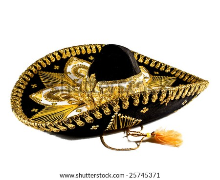 Ornate Mexican hat with lots of gold trim