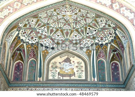 Ornate raj-put style entrance to inner sanctum of Amber Palace, Jaipur, Rajasthan, India