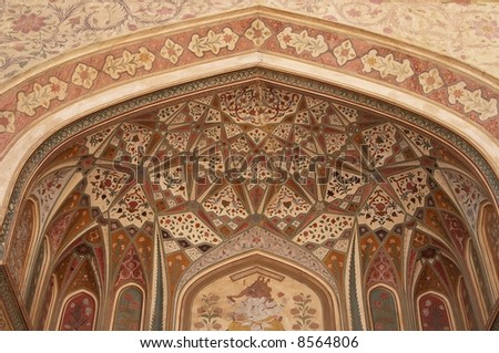 Ornate raj-put style entrance to inner sanctum of Amber Palace, Jaipur, Rajasthan, India