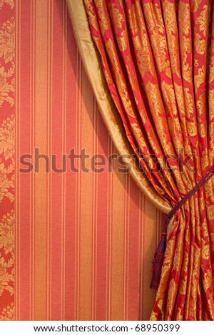 Ornate red curtain with ornaments covering the whole window, free copyspace