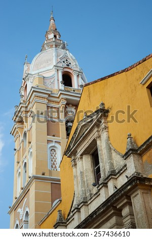 Ornate stone tower of the historic Cathedral of Saint Catherine of Alexandria in the Spanish colonial city of Cartagena de Indias, Colombia. #257436610