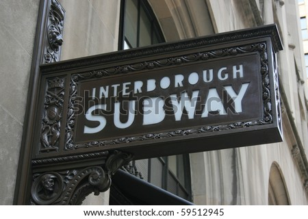 Ornate subway sign in New York City.