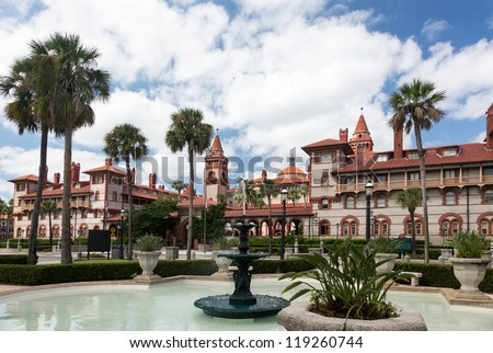 Ornate tower and details of Ponce de Leon hotel now Flagler college built Henry Flagler in St Augustine Florida