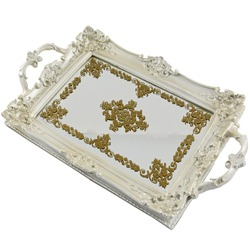 Ornate Tray. Vanity Tray with Gold Ornaments. Polyresin Ellipse Antique Decorative Mirror Organizer for Perfume, Dresser Jewelry and Make up. Isolated Object on White Background.