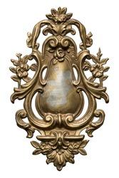 Ornate vintage metal detail, isolated