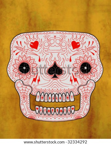 stock photo : ornate vintage tattoo sugar skull