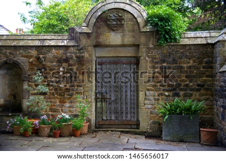 ornate wall with ornate wooden door