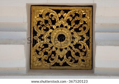 Ornate Window design at Royal Palace Wat Luang Prabang, Laos #367520123