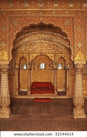 Ornately decorated room inside the palace of an Indian Maharjah. Bikaner, Rajasthan, India