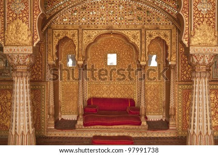 Ornately decorated room inside the palace of the Maharjah of Bikaner. Rajasthan, India