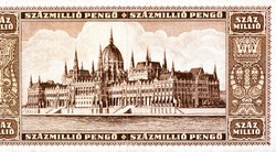 Orszaghaz - Hungarian Parliament building in Budapest. Portrait from Hungary 1000 Million Pengo Banknotes.