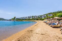 Ortakent Bay and beach view in Bodrum. Bodrum is populer tourist destination in Turkey.